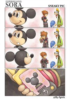 """ry-spirit: """"Sora takes a sneaky pic of Mickey. Kingdom Hearts Crossover, Kingdom Hearts Funny, Kingdom Hearts Fanart, Disney Kingdom Hearts, Disney Magic Kingdom, 150 Pokemon, Kindom Hearts, Hidden Mickey, Blue Bird"""
