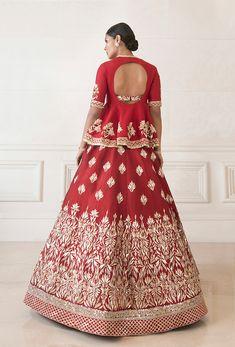 Dense Red Raw Silk Lehenga   Manish Malhotra Blouse Styles, Blouse Designs, Lehenga Color Combinations, Raw Silk Lehenga, Manish Malhotra, Embroidered Blouse, Indian Fashion, Women Wear, Gowns