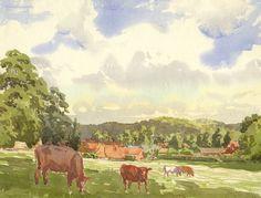 Somerset & Wood Fine Art   20th-century Landscape Paintings   C.P., Grazing Cows, Beaulieu, Hampshire - Original 1942 watercolour painting £35 #FreeShipping #OriginalArt #ArtForSale #OwnArt