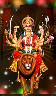 Navratri Puja will help you overcome all your negativities. Flourish with wealth on this Navratri by offering Homam to Lakshmi, Saraswathi & Durga. Maa Durga Photo, Maa Durga Image, Durga Kali, Shiva Hindu, Durga Puja, Shiva Shakti, Hindu Art, Durga Images, Lakshmi Images