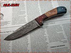 Damascus Custom Made Hunting Knife,Burl Wood,Pukka Wood Handle.(HLK-216H) #Homelandknives