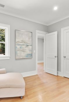 Light Gray Walls, Light Grey Wood Floors, Grey Walls White Trim, Light Grey Paint Colors, Hardwood Floor Colors, Gray Room Paint, Gray Bedroom Walls, Grey Walls Living Room, Bedroom Wall Colors
