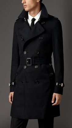 Navy Cotton Gabardine Trench Coat with Leather Trim - Image 1