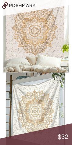 Gold Mandala Flower Tapestry Gold with silver details. 100% cotton, machine safe on delicate clycle. Durable fabric perfect for in doors or out doors. Use as bed sheet, wall decoration, furniture cover, picnic, camping and much more! Available in twin (85x95 inches at $23) Accessories