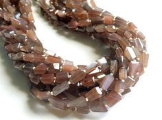 Chocolate Moonstone Step Cut Faceted Tumbles by gemsforjewels