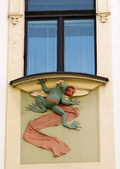 Art nouveau window in Prague. Art Nouveau Architecture, Architecture Details, Prague Architecture, Building Architecture, Chrysler Building, Arched Windows, Windows And Doors, Frog Art, Wooden Shutters