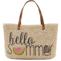 """Straw Studios Graphic """"Hello Summer"""" Straw Tote found on Polyvore featuring bags, handbags, tote bags, handbags totes, tote purse, white tote, summer handbags and white handbags"""
