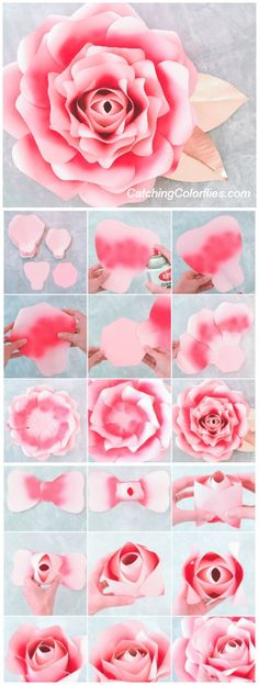 Large Paper Rose Template, Giant Paper Flower Printable Template & Tutorial, Paper Flowers, Wedding Backdrop, DIY Paper Flowers - New Deko Sites Large Paper Flowers, Paper Flowers Wedding, Giant Paper Flowers, Diy Flowers, Diy Paper Roses, Paper Flowers How To Make, Paper Flowers Roses, Paper Flower Decor, Painting Flowers