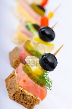 Picture of Selection of various canape stock photo, images and stock photography. Find Selection Various Canape stock images and royalty free photos in HD. Explore millions of stock photos, images, illustrations, and vectors in the Shutterstock creative c Cold Appetizers, Finger Food Appetizers, Appetizers For Party, Finger Foods, Appetizer Recipes, Canapes Recipes, Food Buffet, Food Platters, Party Buffet