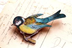 Blue bird brooch,  bird jewelry