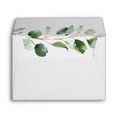 Eucalyptus Greenery Return Address 5x7 White Envelope Addressing Wedding Invitations, Monogram Wedding Invitations, Wedding Envelopes, Black And White Wedding Invitations, Beautiful Wedding Invitations, Custom Printed Envelopes, White Envelopes, Wedding Frames, Wedding Ideas