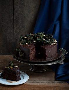 Chocolate beet cake with kale chips and almonds