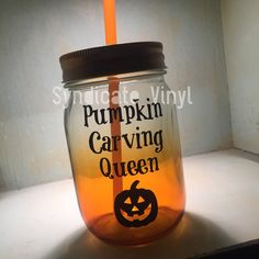 Pumpkin Carving Queen Halloween DIY Decal by SyndicateVinyl #witches #halloween #mason #jar #ombre #diy #craft #party #drink #vinyl #decal #glass #party #pumpkin #carving #queen #jackolantern