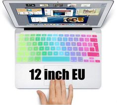 Gradient Color Rainbow Silicone UK/EU/US Layout Cute Laptop Keyboard Protector Cover Stickers Skin For New Apple Macbook 12 inch