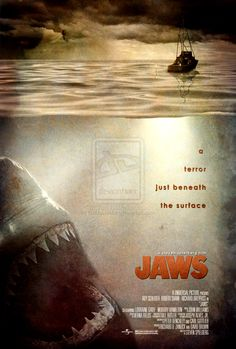 Jaws Movie Poster! a movie from my childhood that terrified me forever from going into the ocean!