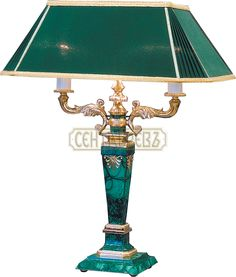 Малахит.Neoclassic Table Lamp Bronze, gilding, malachite Height 590