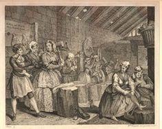 Bridewell тюрьмы с заключенными (в том числе проституток и картежник), бьющих коноплю под наблюдением надзирателя, держащего трость;  Moll все еще одетая в ее наряде, но одноглазый женские сопутствующие пальцы кружева бородка свисает с ее крышкой и ее былого служанка пытается на ее модные туфли и чулки;  за его пределами, стоит человек с его руки в столбу.  1732 травление и гравировка