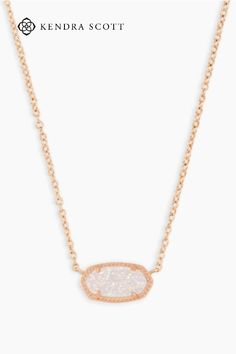 A dainty stone and delicate metallic chain combine to create the Elisa Pendant Necklace in Rose Gold, your new favorite wear-anywhere accessory. This pendant necklace can be paired with any ensemble, giving you extra class and style. Make the Elisa Pendant Necklace a staple in your wardrobe and you won't be disappointed.