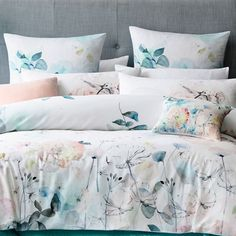 2019 Home Design Trends by Rachel Bernhardt, Portland Realtor Floral Bedding, Linen Bedding, Bed Linens, Adairs Bedding, Boho Bedding, Home Design, Watercolor Bedding, Ikea, Bed Linen Design