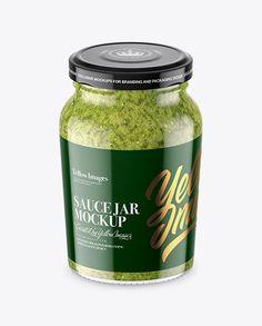 Clear Glass Jar with Pesto Sauce Mockup (High-Angle Shot)