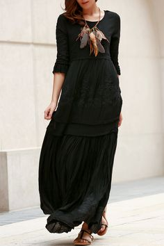 3/4 Sleeve Embroidered Ruffles Maxi Dress