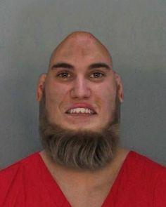 Justin Bieber Bald and Beard Mug Shot - Hair Photoshop Swap - OMG Funny!  ---- best hilarious jokes funny pictures walmart humor fail
