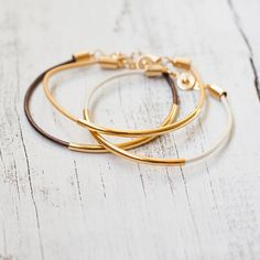 Leather bracelet with gold bar tube friendship cord bracelet, modern simple minimalism jewelry bangle cuff women wedding bridesmaid on Etsy, $12.50