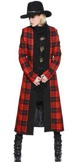 Fabulous Red and Black Plaid Check Tartan Jacket Sweater Coat size M #Unknown #BasicJacket
