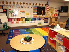 """Great classroom for bulletin board ideas! She used CTP's 5"""" Punch-Out phrases for the Welcome to Pre-K and more Poppin' Patterns letters!"""