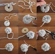 How to diy wool pom-poms pompom laine, pom pom crafts, pom pom Crafts To Sell, Diy And Crafts, Crafts For Kids, Paper Crafts, Preschool Crafts, Sell Diy, Diy Laine, Pom Pom Crafts, Craft Wedding