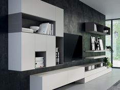 Search all products, brands and retailers of Storage walls: discover prices, catalogues and new features Tv Cabinet Design, Tv Unit Design, Tv Wall Design, Küchen Design, Design Case, House Design, Living Room Wall Units, Home Living Room, Living Room Designs