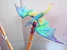 Dragon Hair Sticks Iridescent Rainbow Dragon hair by MadMarchMoon