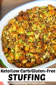 Herb Sausage Stuffing Keto/Low Carb/Gluten Free A Low Carb and Keto friendly version of stuffing with cubes of herbed bread and ground sausage makes a perfect edition to your Thanksgiving feast! Low Carb Stuffing, Gluten Free Stuffing, Sausage Stuffing, Paleo Stuffing, No Carb Recipes, Low Carb Dinner Recipes, Diet Recipes, Healthy Recipes, Soup Recipes