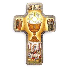 This Holy Eucharist flat wood wall cross features icon-style imagery of the Institution of the Holy Eucharist at the Last Supper. A beautiful gift for First Communion and for special use during the Lent and Easter season.