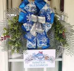 Christmas Wreaths For Front Door, Winter Wreaths, Christmas Mantels, Christmas Ribbon, Holiday Wreaths, Christmas Gifts, Christmas Decorations, Winter Christmas, Snowflake Wreath