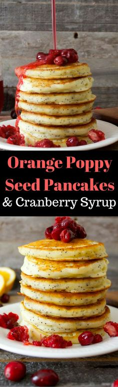 Amazing Orange Poppy Seed Pancakes with fresh Cranberry Syrup! This is perfect for a holiday brunch! Gluten free too!