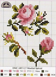 Pink roses cross stitch pattern