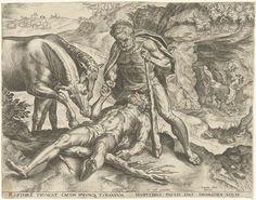 Cornelis Cort   Hercules voert Diomedes aan zijn paarden, Cornelis Cort, Hieronymus Cock, 1563   De paarden van Diomedes werden met mensenvlees gevoerd. In een gevecht slaat Hercules Diomedes dood en voert vervolgens zijn lichaam aan diens paarden. Op de achtergrond is Hercules te zien die de reus Cacus doodslaat. Cacus heeft een rund uit Hercules kudde gestolen en sleept het aan zijn staat naar zijn grot. Hercules verrast hem met zijn knots.