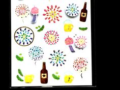 Cute Japanese Stickers Summer Theme Beer Fireworks Wind Chimes Chiyogami Paper Stickers (S237) by FromJapanWithLove on Etsy