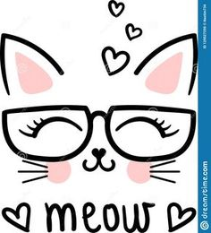 Cute Meow, Cartoon Cat With Glasses. Kawaii Drawings, Easy Drawings, Cat Party, Doodle Art, Cute Cartoon, Cute Wallpapers, Cute Art, Painted Rocks, Art Sketches