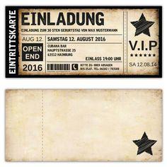 Schön Einladung Zum Geburtstag Als Eintrittskarte, Ticket