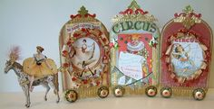 Here is another piece that I created for the folks at Alpha Stamps as a guest designer. This circus caravan is double sided and made of . Circus Crafts, Circus Art, Circus Theme, Circus Train, Circus Activities, Altered Tins, Victorian Toys, Vintage Circus Posters, Carnival