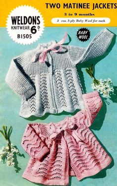 Items similar to Baby Matinee Jackets 2 styles and Shawl in 3 ply for 3 to 9 months - Weldons 1505 - pdf of Vintage Knitting Patterns on Etsy Easy Knitting, Knitting For Kids, Baby Knitting Patterns, Baby Patterns, Crochet Patterns, Crochet Baby, Knit Crochet, Knitted Baby, Sport Weight Yarn