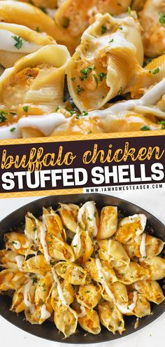 In love with buffalo chicken? You'll fall in love even more with its pasta version! These Buffalo Chicken Stuffed Shells are loaded with cheese and chicken, it's the ultimate comfort food! These easy to make and hearty dinner recipe is filling and satisfying for the whole family. Save this pin! Buffalo Chicken Stuffed Shells, Cheese Stuffed Shells, Stuffed Shells Recipe, Homemade Ranch Seasoning, Homemade Buffalo Sauce, Vegetarian Cooking, Cooking Recipes, Lemon Chicken Pasta, Easy Pasta Recipes