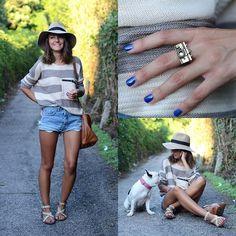 Sheinside Sweater, Mih Jeans Shorts, Michael Kors Sandals, Asos Ring, Asos Hat, Massimo Dutti Bag