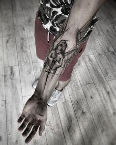 Line art tattoo sleeve tatoo ideas Hand Tattoos, Line Art Tattoos, Black Tattoo Art, Large Tattoos, Wolf Tattoos, Forearm Tattoos, Black And Grey Tattoos, New Tattoos, Body Art Tattoos