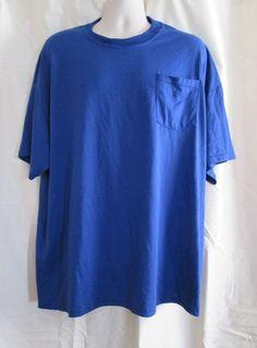 Jerzees Mens T Shirt 3X Pocket Heavyweight Cotton Polyester Blend Royal Blue #JERZEES #BasicTee