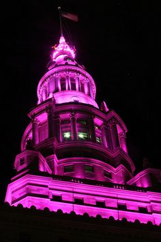 Pink terminal tower in Cleveland for Breast Cancer Awareness Month.