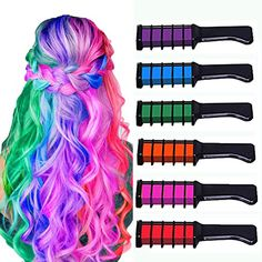 Hair Dye Ideas: New Hair Chalk Comb Temporary Bright Hair Color Dye Ideas for Girls Kids, Washable Hair Chalk for Girls Age 4 5 6 7 8 9 10 New Year Birthday Party Cosplay DIY Children's Day, Halloween, Christmas,6 Colors.  Hair Dye Ideas, hair dye ideas blonde, hair dye ideas for brunettes, natural hair dye ideas, curly hair dye ideas, hair products for curly hair, hair highlights for brown hair,  hair ideas for long hair Bright Hair Colors, Hair Dye Colors, Vibrant Colors, Light Hair, Dark Hair, Brown Hair, Blonde Hair, Washable Hair Color, Kids Hair Color