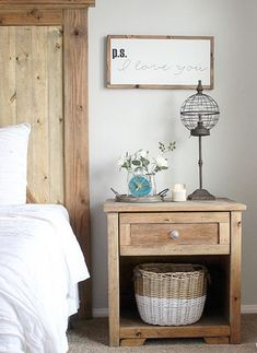 Your farmhouse bedroom doesn't need to be too complicated. For the perfect look, use wooden side tables, aa rustic sign, and 3 decor pieces varying in height. Such as a tall lamp, some floral, and a yummy Antique Candle Works candle to pull it all together! Beautiful handmade soy candles - vintage style for the modern country home. PC: IG - Inspired By 2